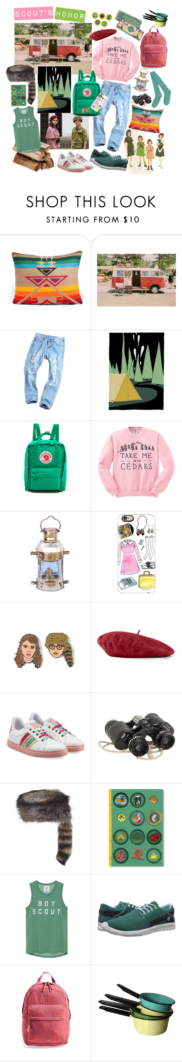 """""""scout's honor!"""" by rosemaryx ❤ liked on Polyvore featuring Fjällräven, Casetify, Gucci, RED Valentino, Overland Sheepskin Co., Etnies, RVCA, summercamp and 60secondstyle"""