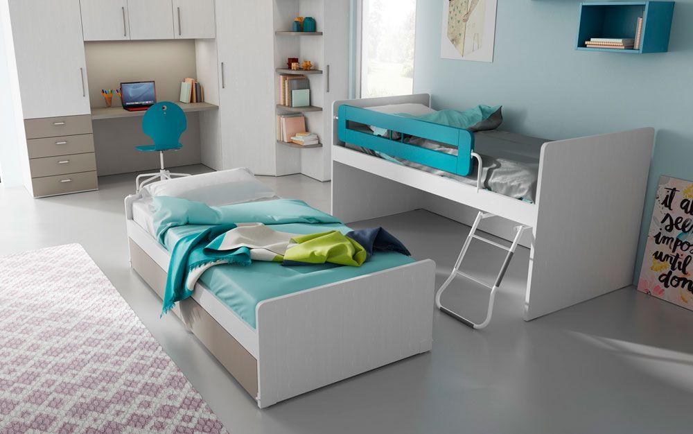 Cameretta Tortora ~ Cameretta mistral con doppio letto in lignum bianco u2013 tortora e