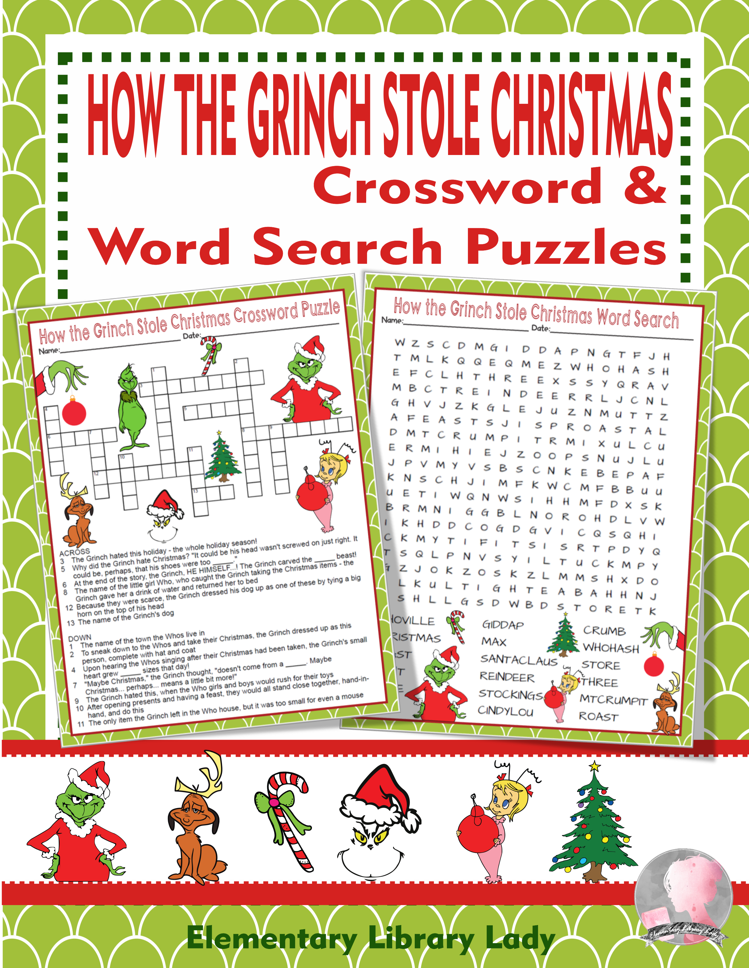 How The Grinch Stole Christmas Activities Crossword And