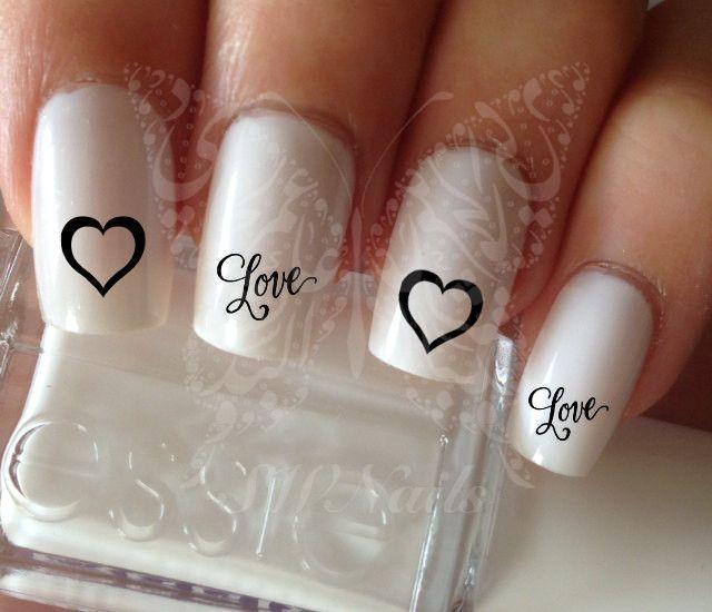 Nail Art Love Word Black Heart Valentine\\\'s Days Nail Water Decals ...