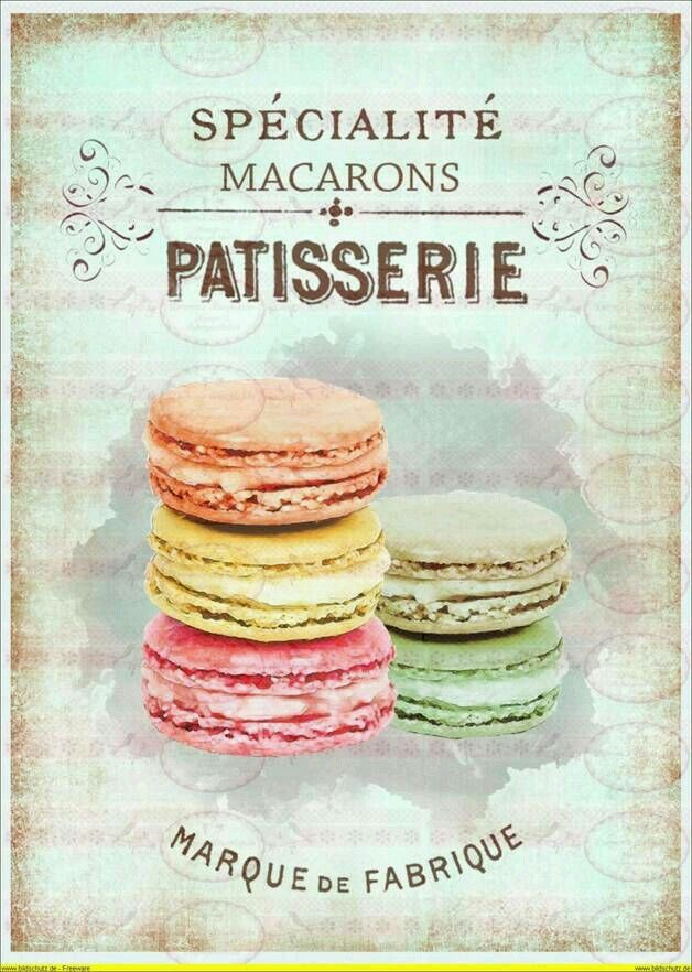 Vintage french patisserie poster j 39 aime paris for Poster deco cuisine