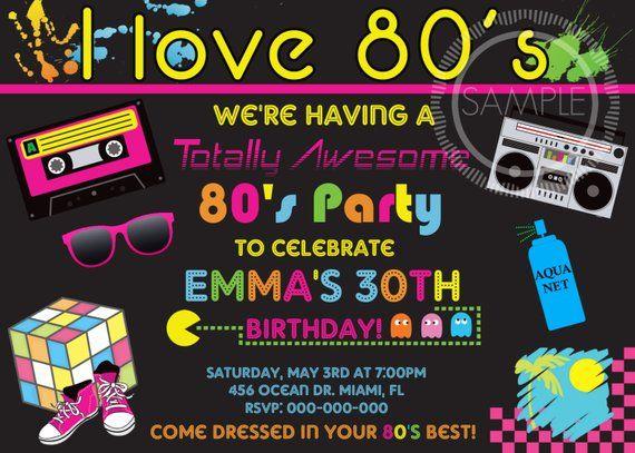 unique 80s birthday invitation or 34 80th birthday invitation card design