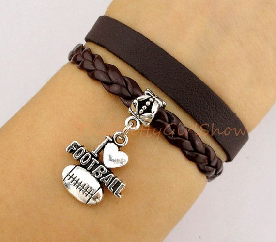 Football Charm Bracelet in silver -Leather Braid Bracelet - imitation leather- Friendship Gift-Personalized bracelet - bridesmaid gift