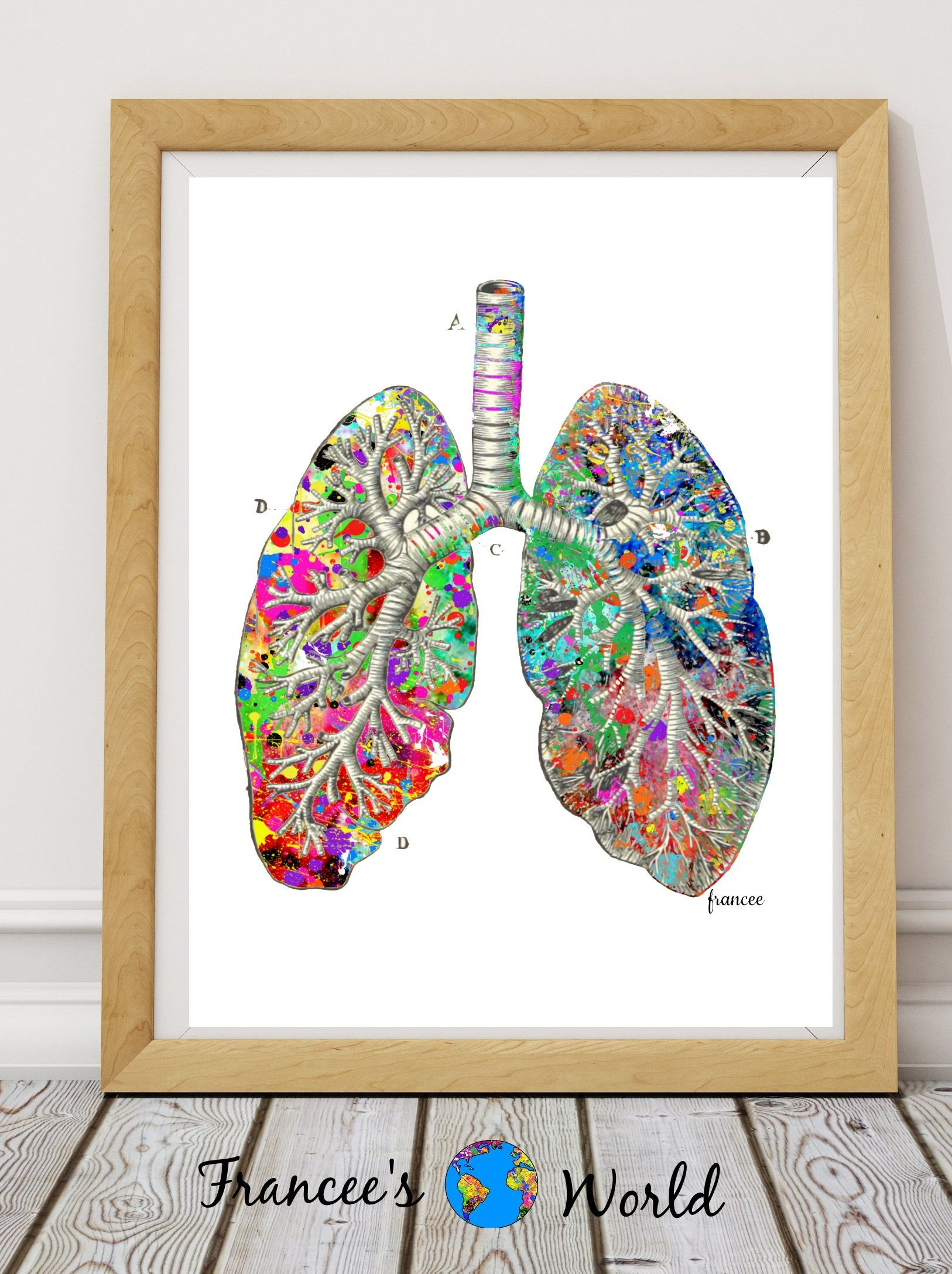 Doctor Gift Lung Anatomy Watercolor Vintage Printable Art Print