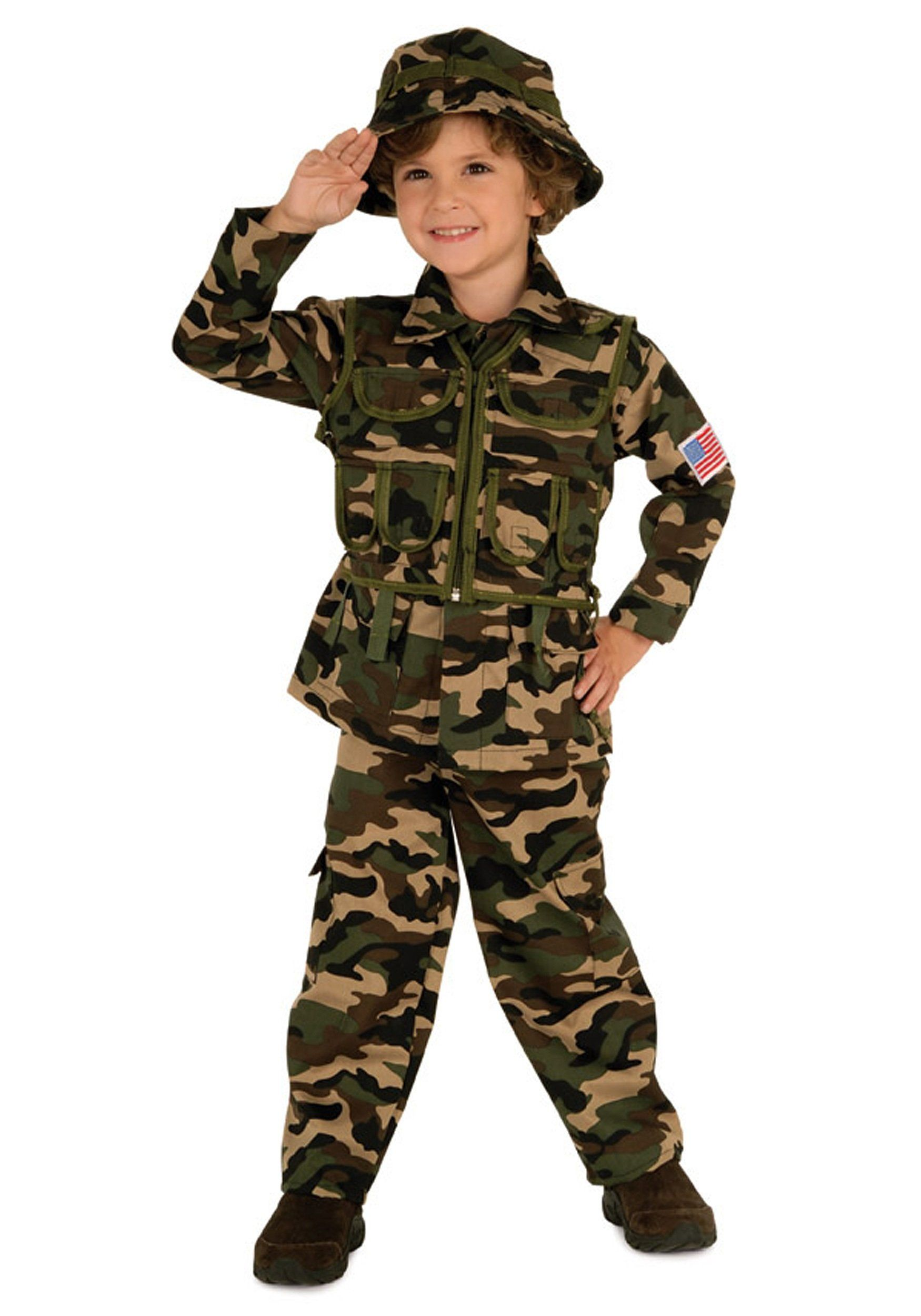 Kids Army Camo Camoflauge Soldier Dress Up Play Fancy Dress Costume Age 4-12