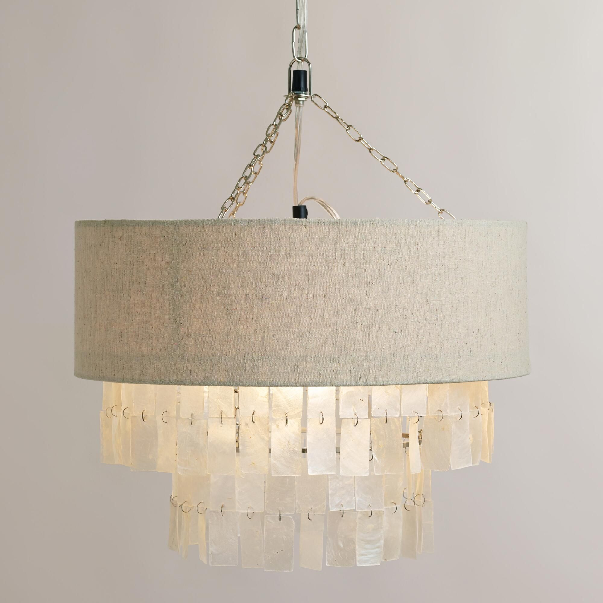 White Capiz Linen Pendant Lamp World Market Wish It Used More Than One Bulb