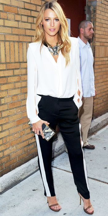 blake lively, black and white chic