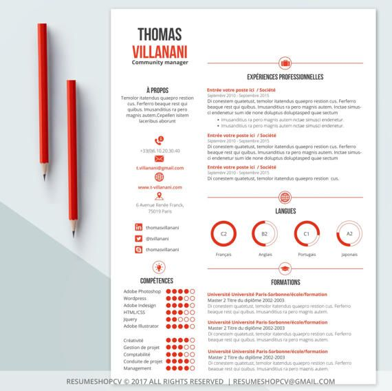 3 cv    professional resume  modern and graphic   3 letters   pack of extra pictograms for