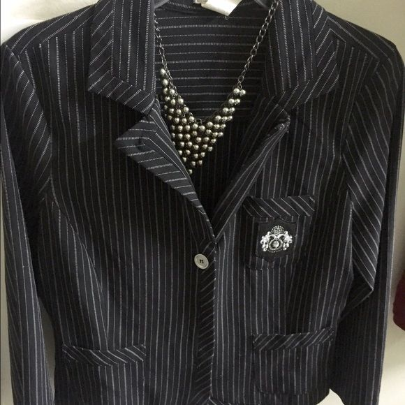 Taking Care of Business  Black and silver pinstripe preloved jacket. 3/4 sleeve. Front button closure. Worn twice. Tag says a large but it fits like a medium. A small can fit this as well. Has some stretch. Jackets & Coats Blazers