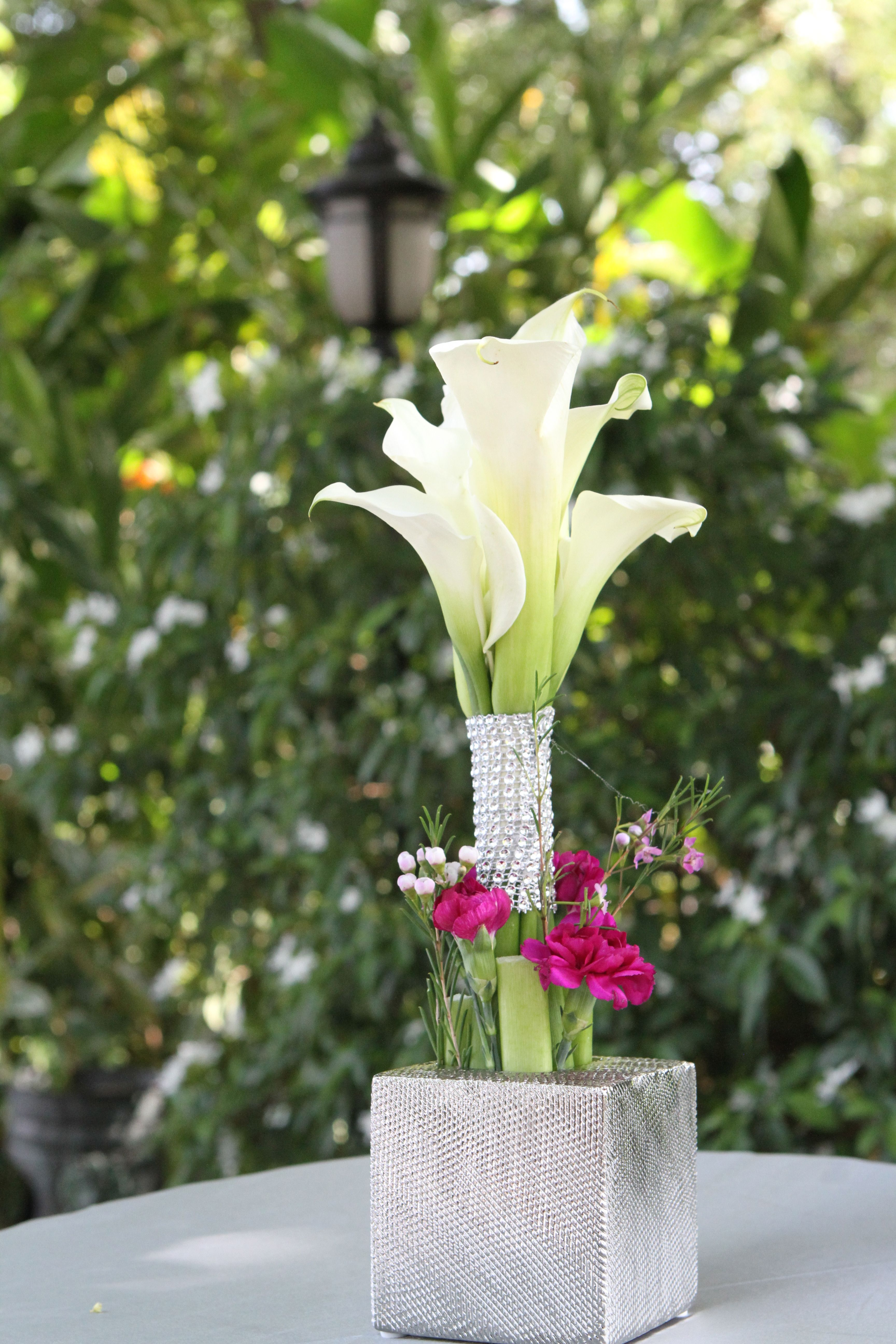 Calla Lily Wedding Cocktail Table Centerpiece By Helen G Events