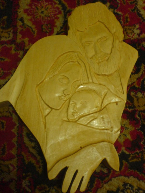 Wood #sculpture by #sculptor Catalin Moldovan titled: \'Holy Family ...