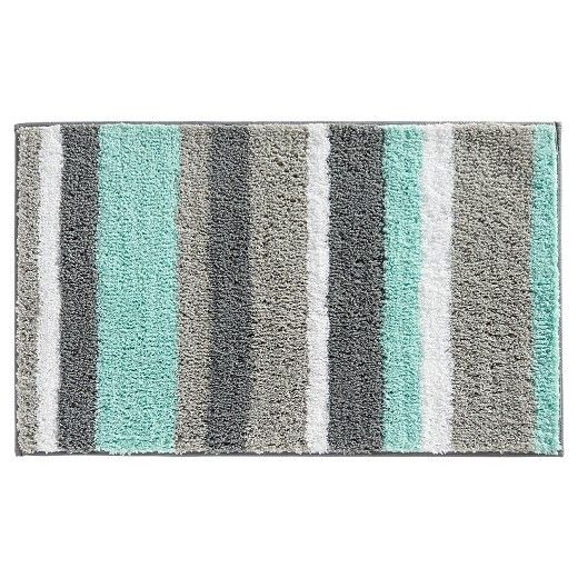 Interdesign Stripz Microfiber Bath Rug 34 X Mint Gray