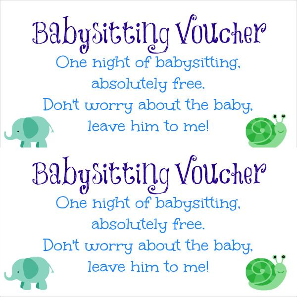 Baby Sitting Voucher Free Download Projects To Try Pinterest