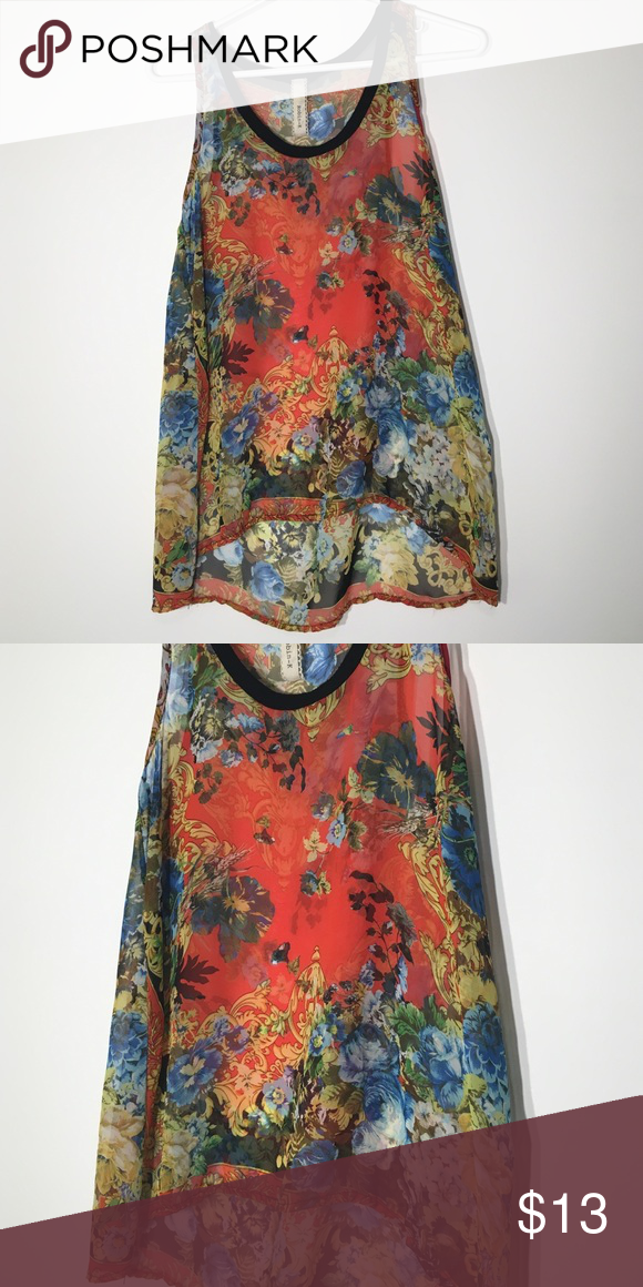 Floral Tank A blend of all colors with black neckline Robin-K Tops Tank Tops