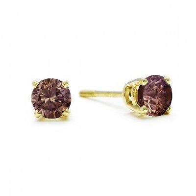 Other Wedding Jewelry 164311: 1/2Ct Natural Cognac Diamond Stud Earrings In 14K Yellow Gold BUY IT NOW ONLY: $474.64