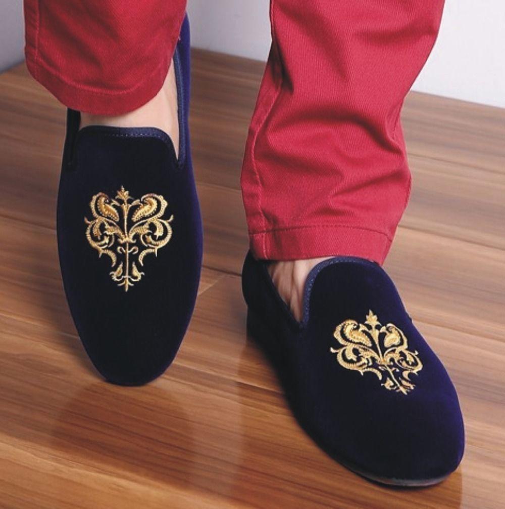 1e06e57e53a6d Handmade mens party velvet embroidered loafer shoes,Mens blue velvet shoes  - Slippers