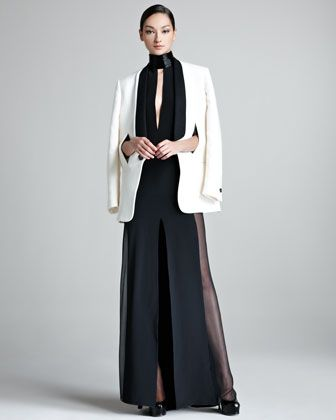 Contrast-Lapel Tuxedo Jacket & Sheer-Side Halter Gown - Neiman Marcus