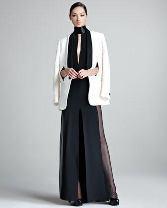 Contrast-Lapel Tuxedo Jacket & Sheer-Side Halter Gown - Neiman Marcus