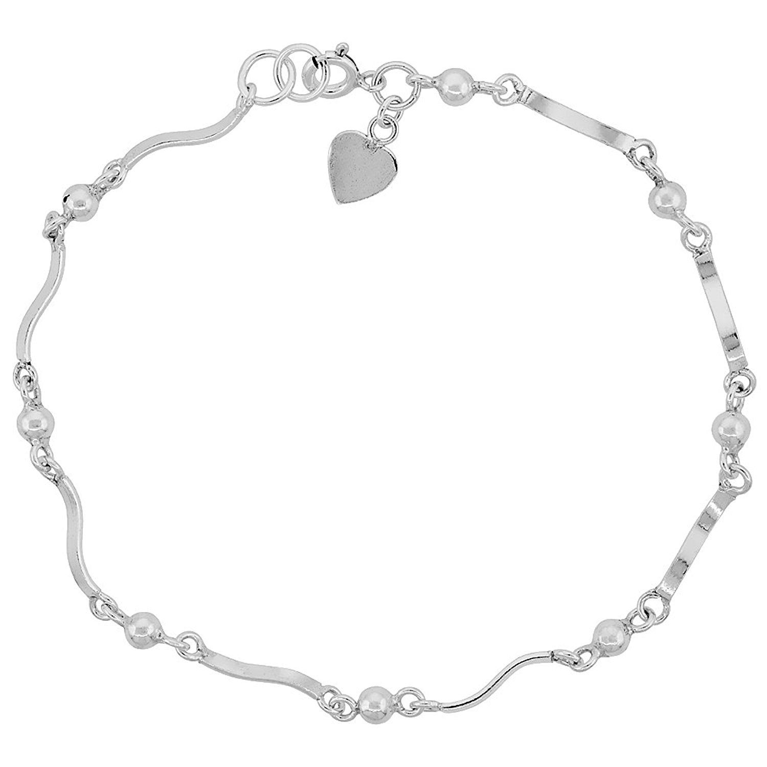 Sterling Silver Anklet With Hearts And Beads Fits 9 10 Inch Ankles You Can Find More Details Sterling Silver Anklet Silver Anklets Silver Ankle Bracelet
