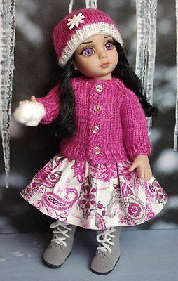 "Snow Paisley A Hand Knit Sweater Hat Skirt for Patsy Ann Estelle 10""Dolls | eBay"
