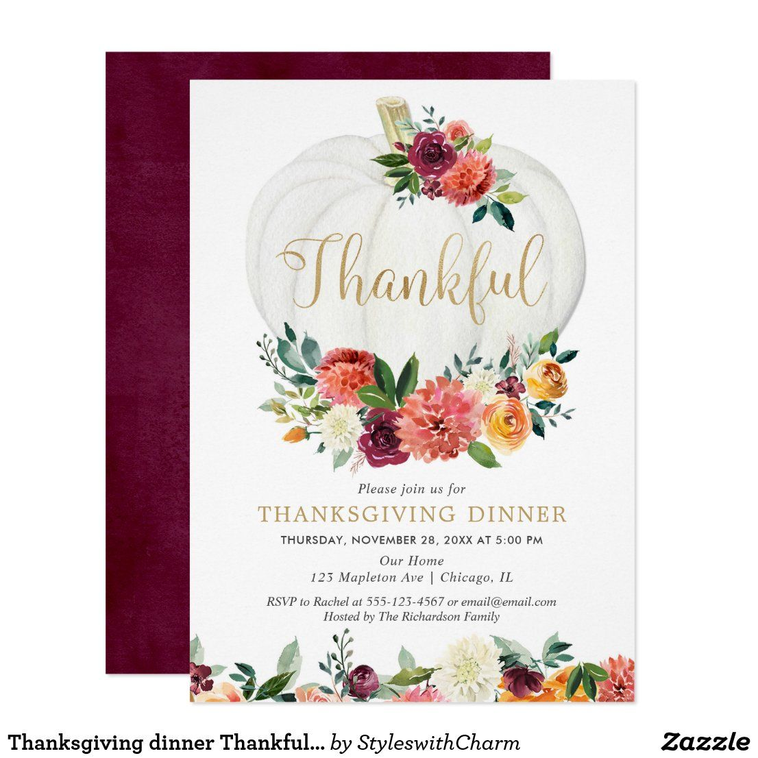 Thanksgiving dinner Thankful rustic fall floral Invitation #thanksgiving #givethanks #thanksgivingdinner #thanksgivingparty #styledevents #afflink #zazzle #zazzlemade #styledparties #celebrateandparty #celebrationparty #party #partyinspiration #partystyling #partydecoration #partyideas #partyinspo #partytheme #partyprops #eventinspo #eventplanning #eventideas #partythemethursday #partythemeideas #partyinabox