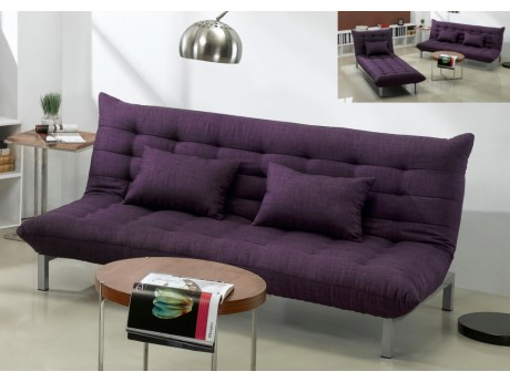 3 Sitzer Schlafsofa Stoff Hornet Violett Kunstleder Couch