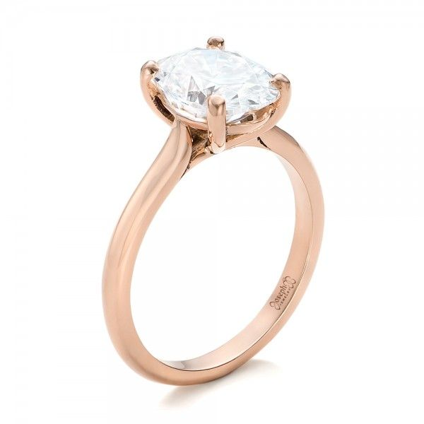 Custom Solitaire Moissanite Engagement Ring - 3/4 View