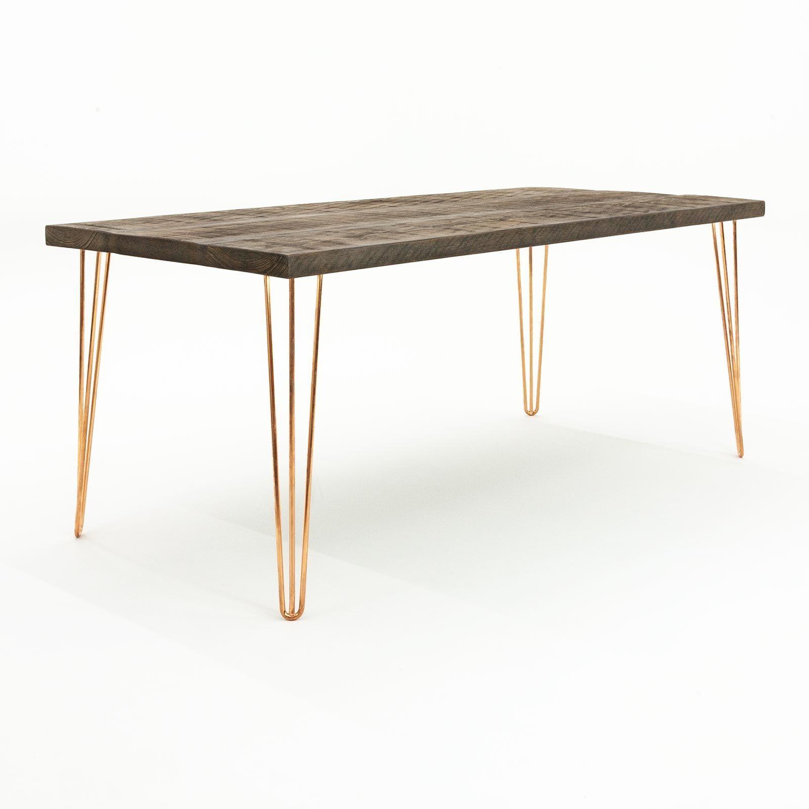 Ouseburn Hairpin Leg Dining Table Medium Oak Copper 120cm