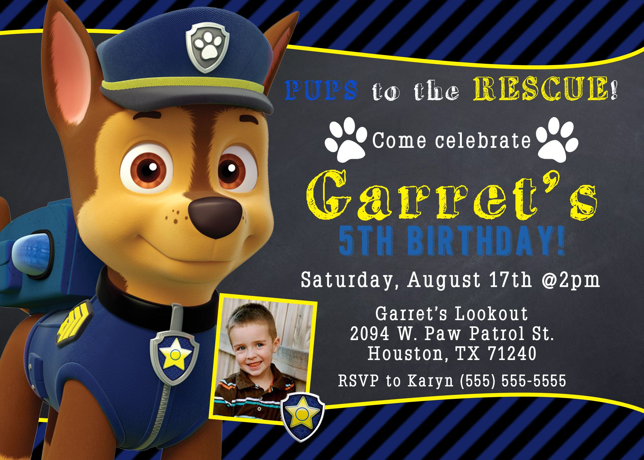 Paw Patrol Birthday Invitations Paw Patrol Birthday Paw Ty Paw