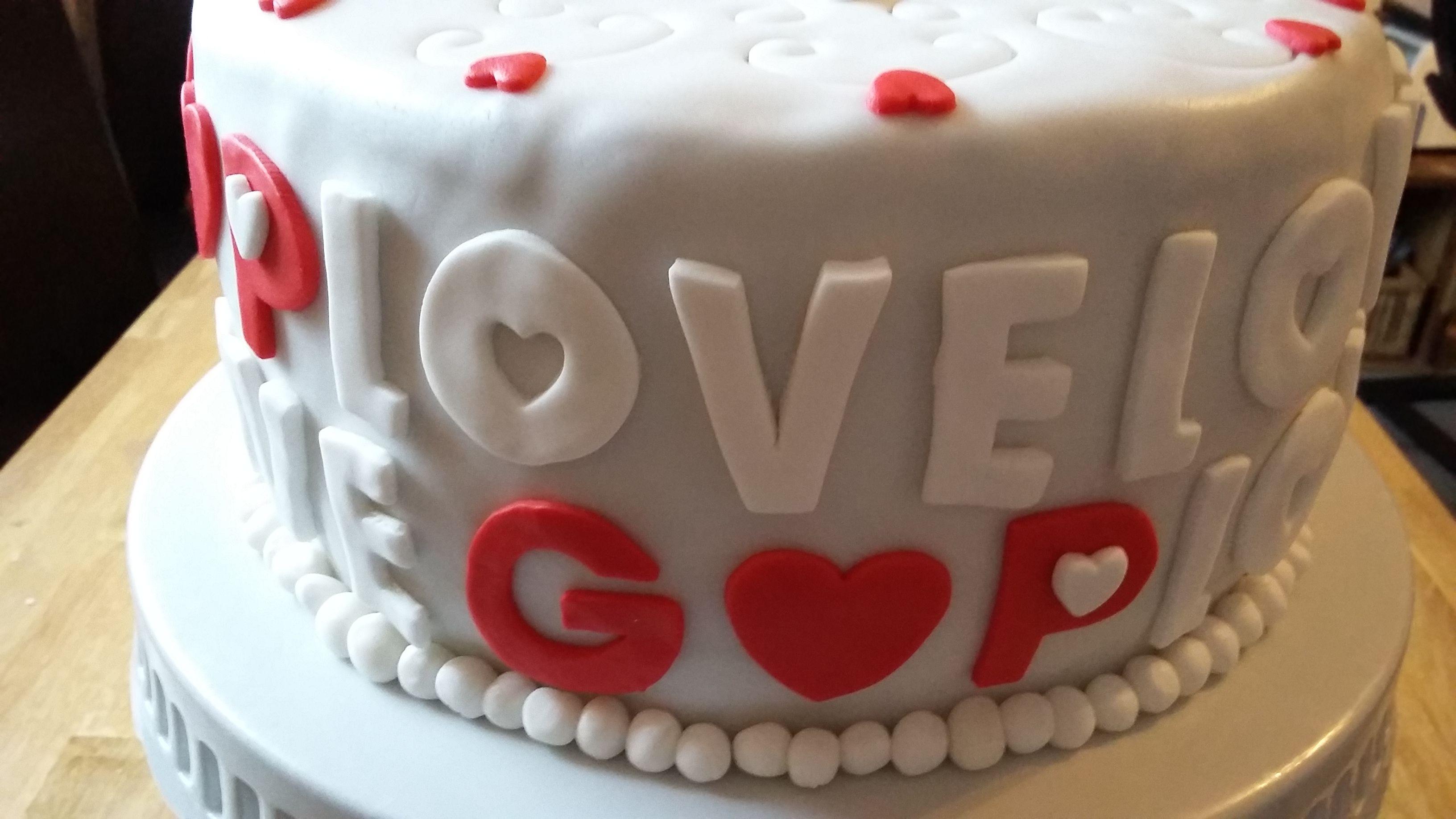 Love Motivtorte Cake Fondant Silberhochzeit Anniversary Motivtorte Torten Silberhochzeit