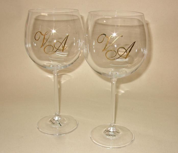 Set de dos copas de cristal para vino decorada a mano con for Copas de cristal