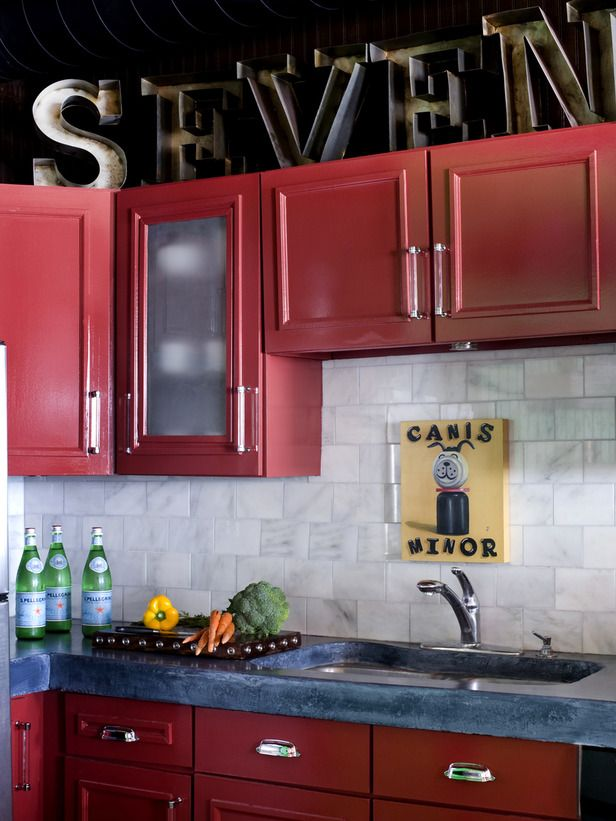 Streamlined Kitchen Cabinet Makeover Kitchen Cabinet Colors Red