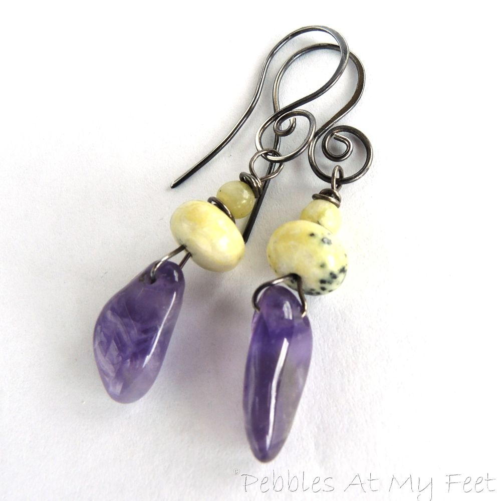 Sterling silver wire wrapped earrings with purple amethyst and ...