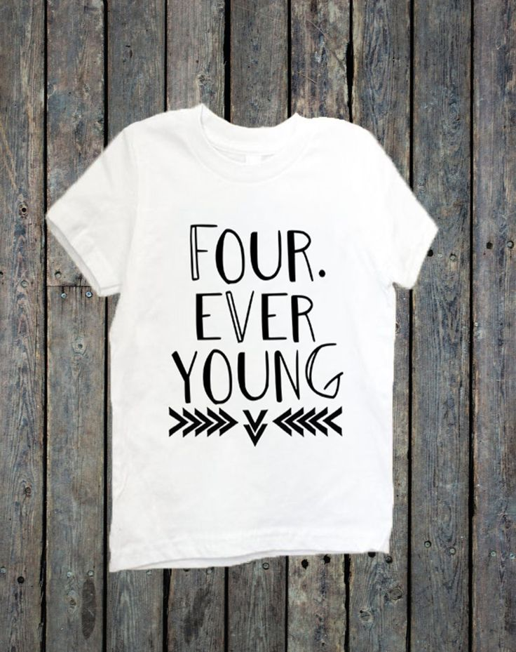 Fourth Birthday Shirt Toddler Forever Young Turning 4 4rd