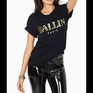 I just discovered this while shopping on Poshmark: New Black/gold Brian lichtenberg BALLIN tee M. Check it out!  Size: M