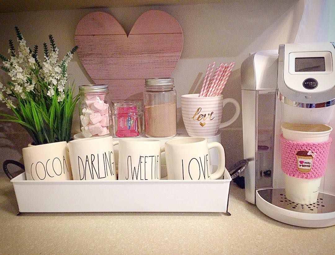 Valentine's Day hot chocolate station Rae Dunn mugs keurig coffee ...