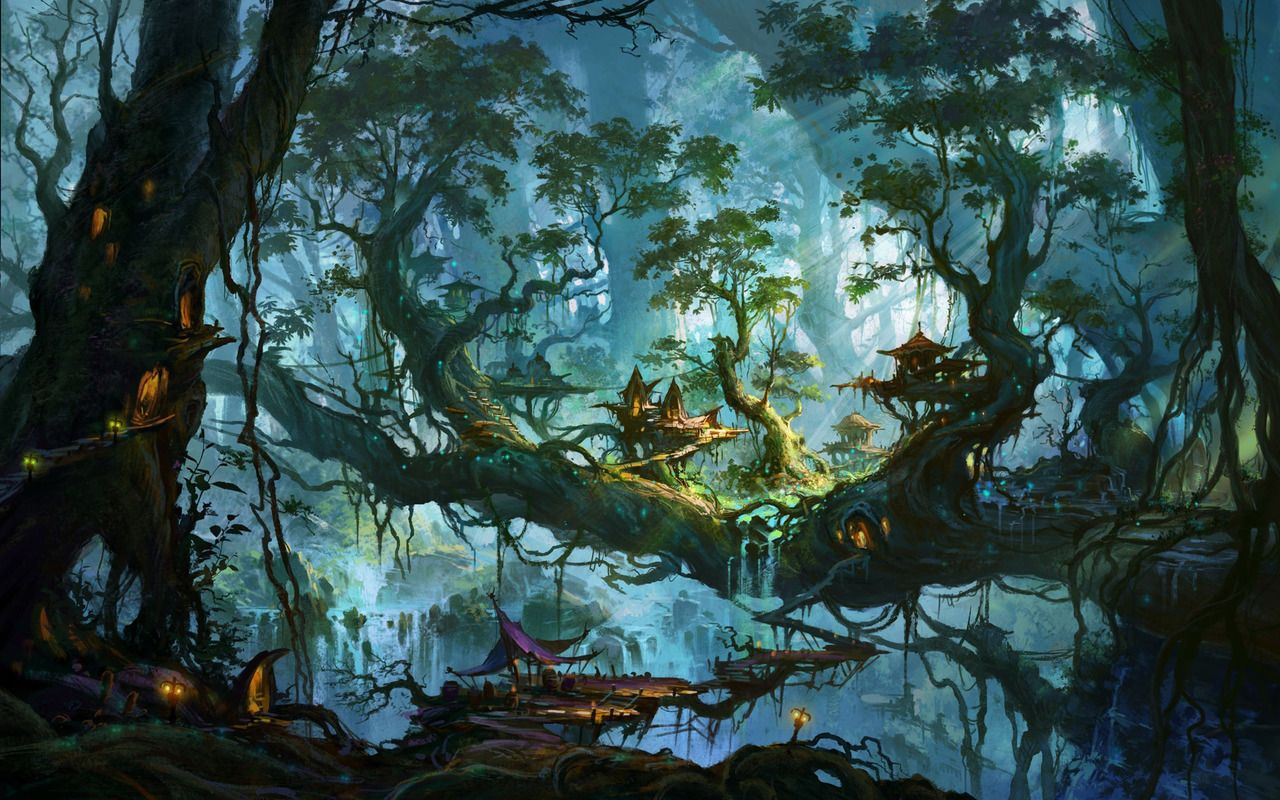 Enchanted forest wallpaper download enchanted village on for Enchanted forest mural wallpaper