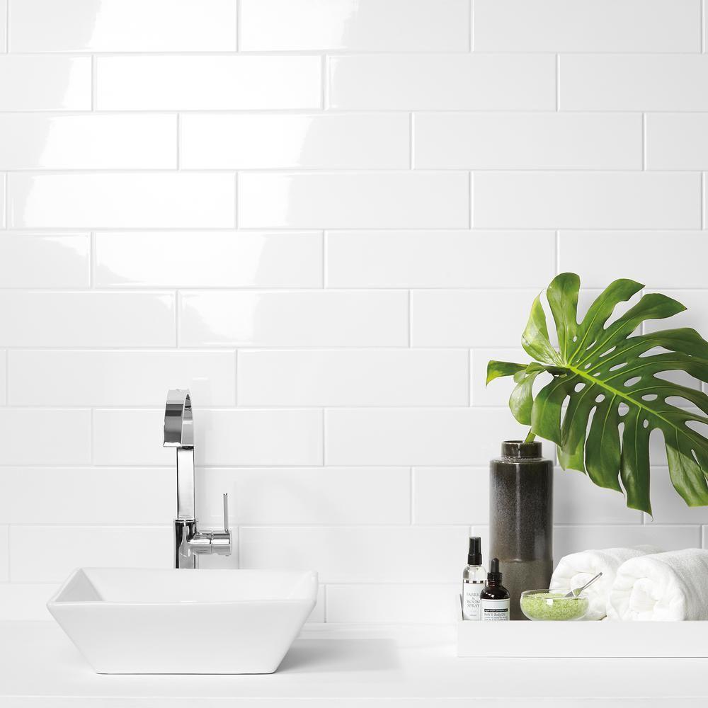 Daltile Finesse Bright White 4 in. x 16 in. Ceramic Wall Tile (10.75 ...