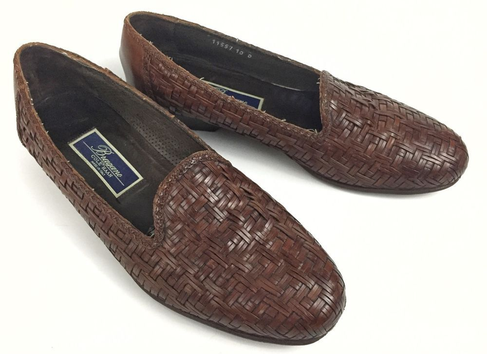 Basket Weave Woven Loafers Brown Italy