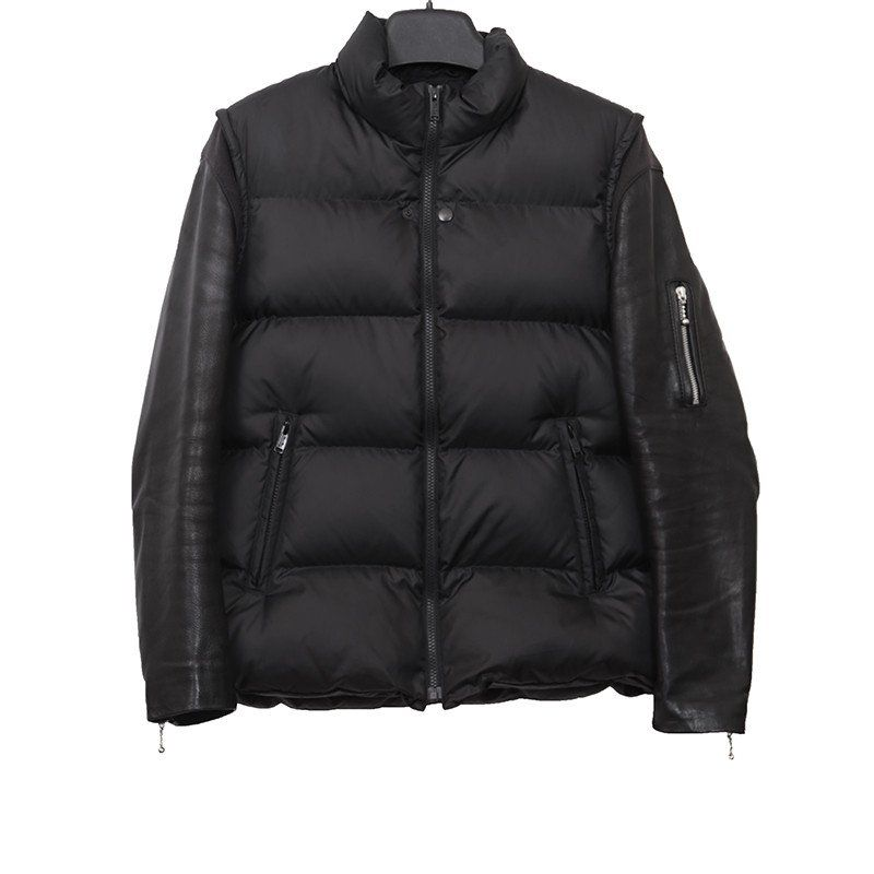 UNDERCOVER DOWN FEATHER JACKET BIKER LEATHER SLEEVES | GUYI ...