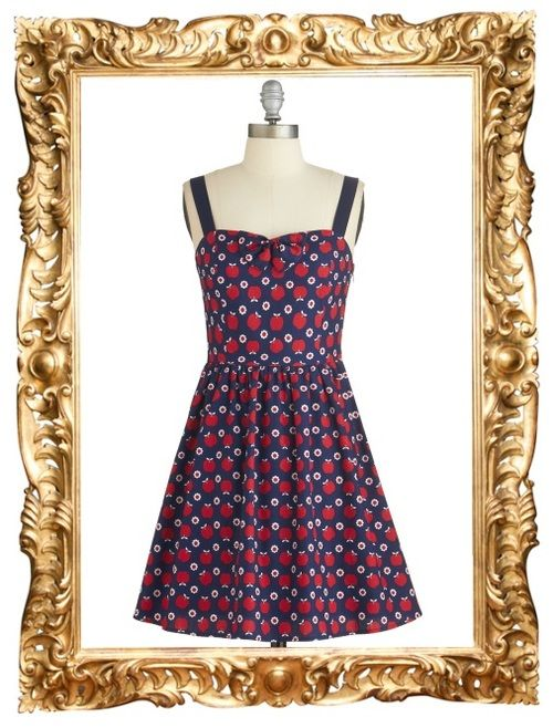 Yearning for Yesteryear Apple Print Dress - $64.99