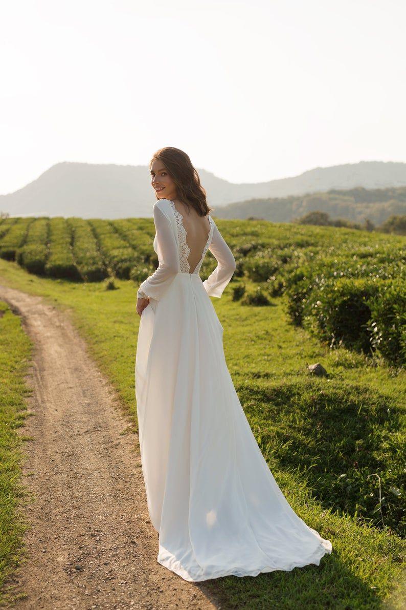Chiffon Wedding Dress Anasteisha Long Sleeves Simple Wedding Dress With Open Back Etsy Wedding Dress Chiffon Wedding Dress Long Wedding Dresses [ 1191 x 794 Pixel ]