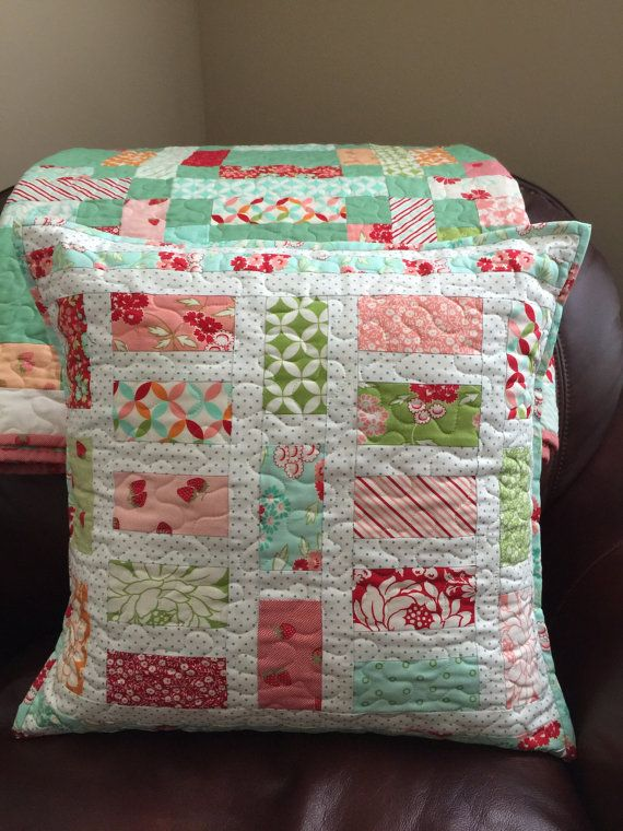 handmade hello darling quilted pillow by bonnie and camille fabric quilting quilted pillow. Black Bedroom Furniture Sets. Home Design Ideas