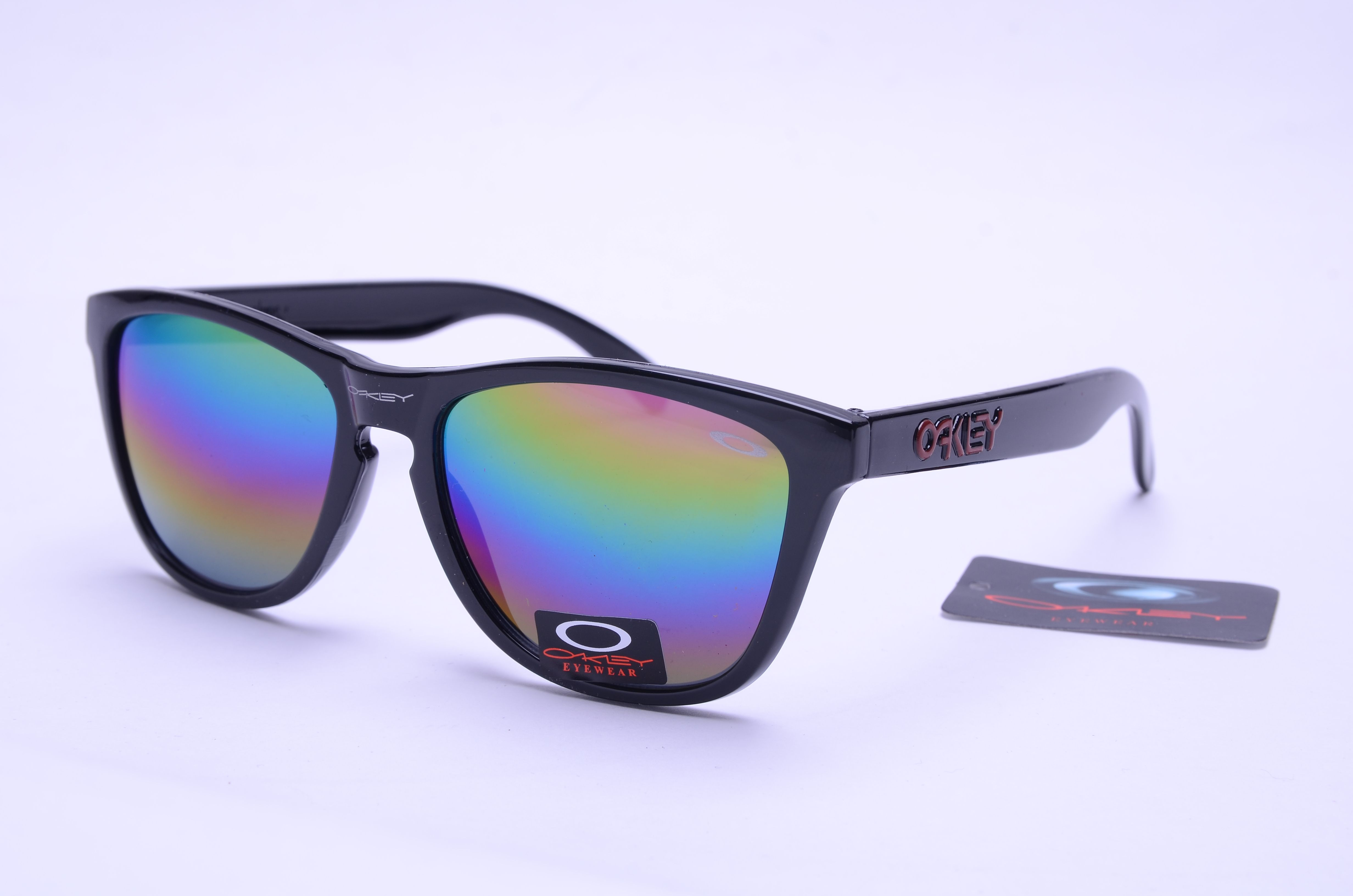 reminds me of mirrored ray ban sunglasses - / Frogskins Oakley Knockoff  Glasses Black Frame Rainbow Lens