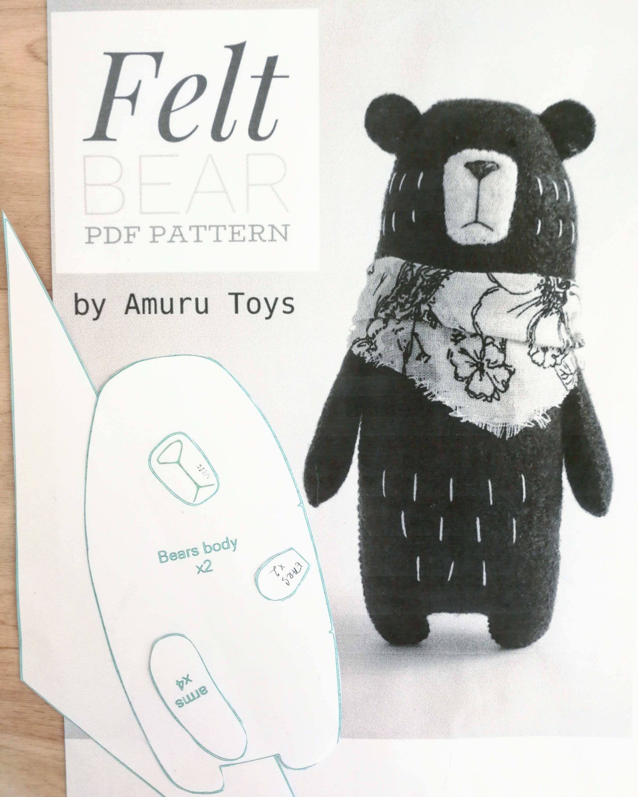 DIY felt bear toy pattern | Le café de maman