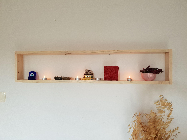Fashion Modern Art White Wooden Wall Shelf Display Hanging Rack Storage NH