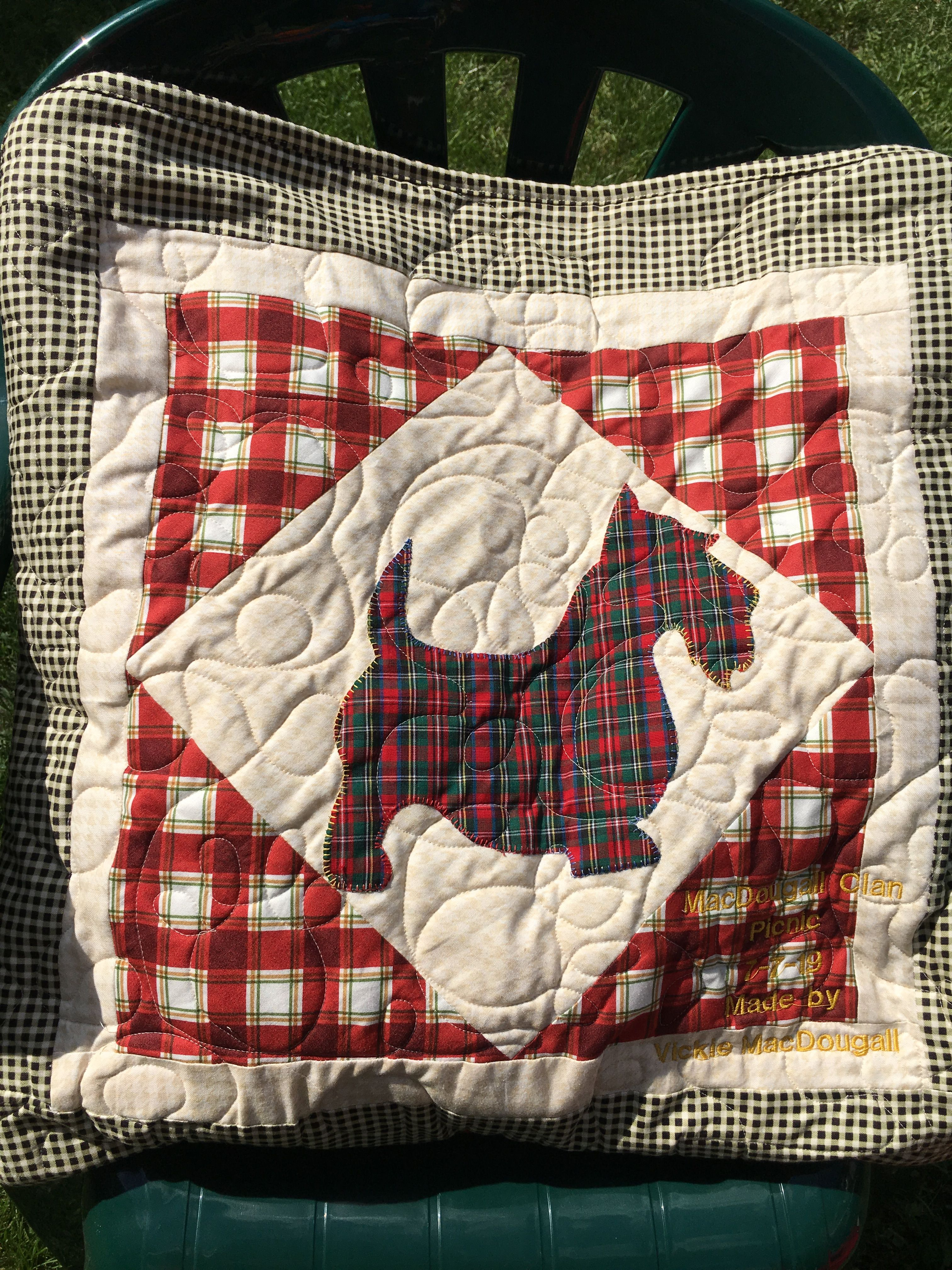 Pillow portion of the Scottie Quillow Dog quilts, Quilts