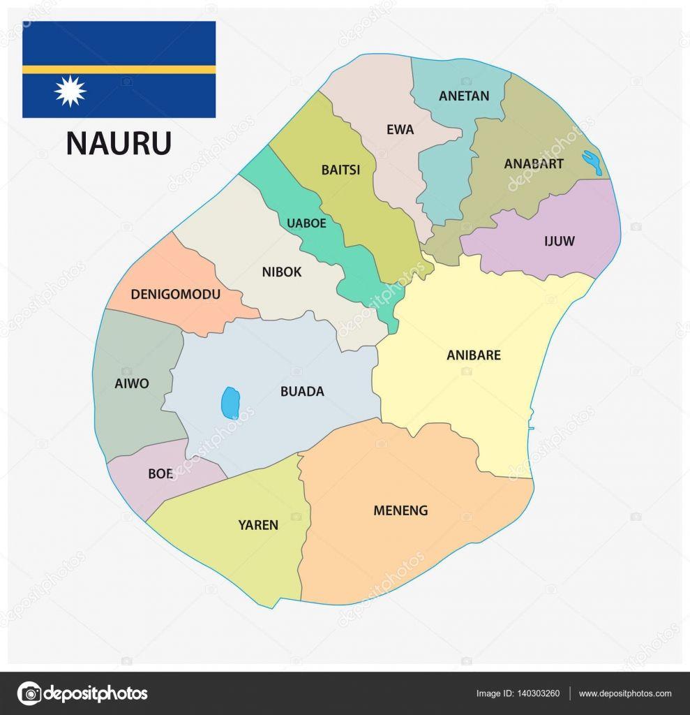 Mapa de vector administrativa y política de Nauru con bandera ...