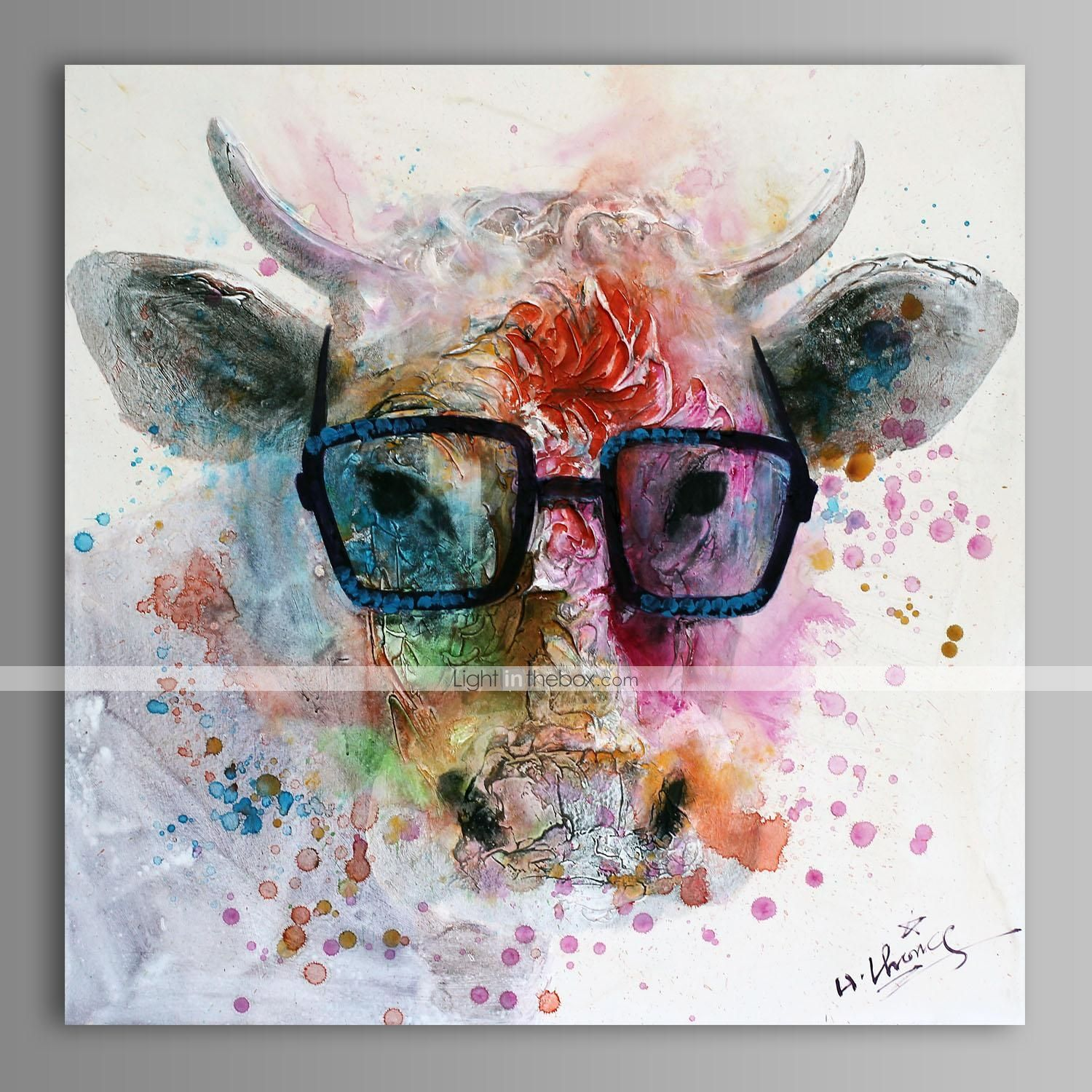 Oil Painting Modern Abstract Cow Hand Painted Canvas With Stretched