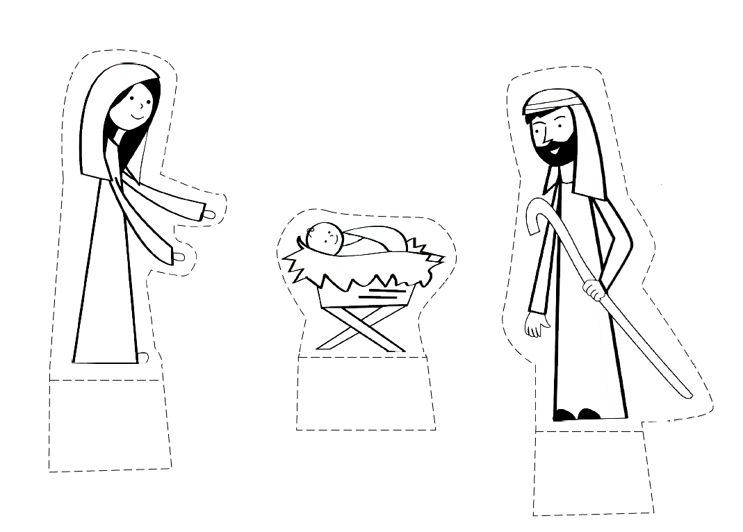 Divertido portal de Belén para recortar y colorear | Dibujos para ...